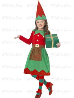 Santa's Little Helper Costume, with Dress and Hat, in Display Bag
