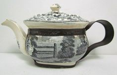 ANTIQUE EARLY 19TH C ENGLISH BLACKTRANSFER WARE TEAPOT (TEA | Pottery, Porcelain & Glass:Date-Lined Ceramics:c.1840- c.190 | JPEGbay.com
