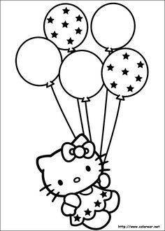 Free Printable Kitty Coloring Pages for Kids.this time in Hello Kitty Coloring Pages, we bring entertainment and joy to the children in drawing and coloring activities Birthday Coloring Pages, Coloring Pages To Print, Printable Coloring Pages, Free Coloring, Coloring Pages For Kids, Coloring Books, Coloring Sheets, Kids Colouring, Hello Kitty Crafts