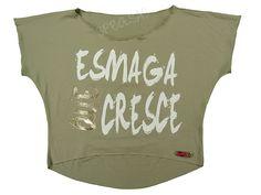 Blusas Femininas | Blusa Cropped Costas Rasgadas Esmaga Que Cresce Bege  Acesse: http://www.spbolsas.com.br/atacado/ #Regatas #Femininas #Atacado
