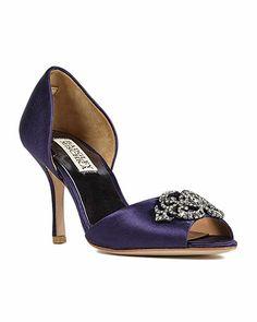 "Slightly more reasonable wedding shoe possibility... Badgley Mischka Salsa Jewelled Bridal Shoe in Navy, 3"" heel, $215"