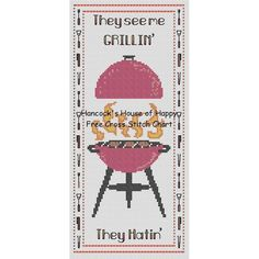 They See Me Grillin Free Cross Stitch Pattern