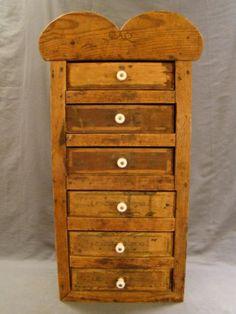 Antique VICTORIAN Era PRIMITIVE Wood SPICE CABINET Old 6-Drawer FOLK ART CHEST