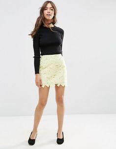 Image 1 ofASOS Lace Mini Skirt with Scalloped Hem