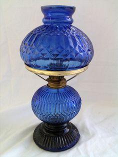 vintage oil lamp in cobalt blue