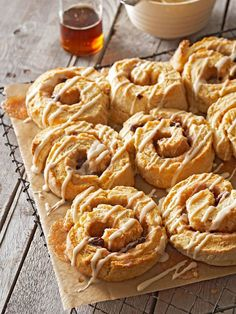 Maple Swirl Biscuits: Drizzled with powdered sugar glaze and maple syrup