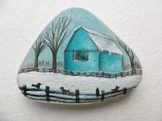 Reserved for BEV Blue barn in the snow - original acrylic miniature painting on pretty frosted English sea glass.