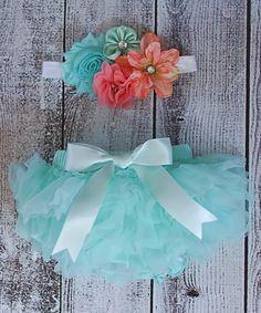Look what I found on #zulily! Coral & Aqua Shabby Flower Headband & Bloomers by Ella's Bows #zulilyfinds