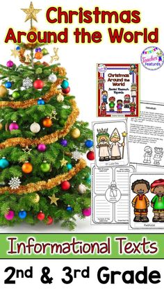 Christmas Around the World Writing Project with Informational Text Passages. No prep Christmas Around the World includes nine different country celebrations and informational text passages & graphic organizers to record and organize information. Perfect for 2nd & 3rd grade writing centers or class project. #tpt #2ndgradewriting #3rdgradewriting #writingcenter #holidaylesson #ChristmasAroundTheWorld #TeacherFeatures #holidaysaroundtheworld #Christmasactivities #christmasaroundtheworldactivities