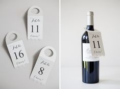 """DIY Wedding // Make these darling """"wine bottle table number hang tags"""" for your wine inspired wedding or event!"""