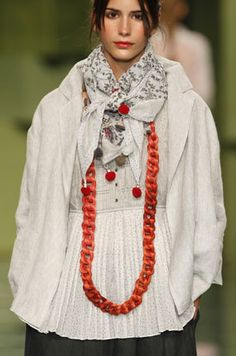 TM Collection Spring 2014  LOVE the scarf and necklace with that white shirt!