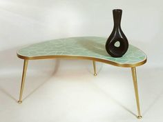 3 Leg Kidney-shaped Table Rockabilly 1960s Wood Table Side Table White Glass Products Hot Sale Other Antique Furniture