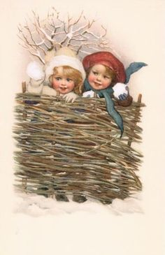 Two little girls with snowballs vintage Christmas postcard Old Time Christmas, Happy Merry Christmas, Old Fashioned Christmas, Christmas Scenes, Victorian Christmas, Christmas Art, Christmas 2019, Vintage Christmas Images, Vintage Holiday