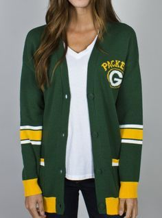 green bay packers intarsia cardigan by junk food clothing $48