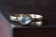 Clear White Rose Cut Diamond RIng in 14kt Yellow Gold