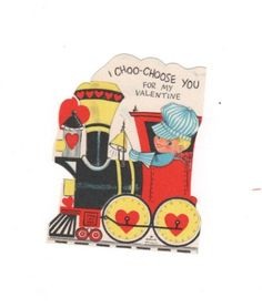 I Choo-Choo-Choose You for my Valentine. Vintage classic 1950s valentine from Hallmark. Mid Century kitsch collectible greeting card by PickleladyPapers on Etsy