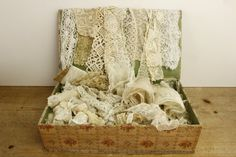 French Antique Sewing Box Full of Lace....LARGE by LeMoulinBleu