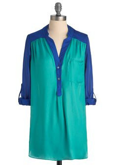 Pam Breeze-ly Tunic in Turquoise - Blue, 3/4 Sleeve, Casual, Buttons, Pockets, Long, Button Down, V Neck