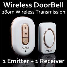 CACAZI C-9918 Gold,1 Emitter + 1 Receiver AC 110V-220V Wireless DoorBell,Mp3 DoorBell,48 Music,Waterproof Doorbell,door call