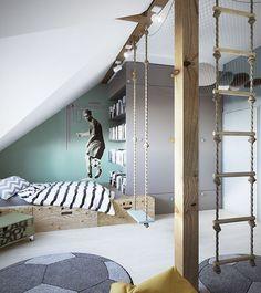 Design piccola camera in mansarda per un ragazzo sportivo - presente un'altalena ed uno spazio relax sospeso