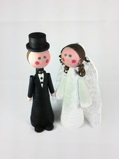"Custom order paper quilled Bride and Groom dolls. Approximately 6"" each.  Paper quilled dolls.  Quilled Bride with veil.  Quilled Bride and Groom."