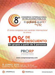 En grupos a partir de 5 personas #8CongresoPRORP ofrece el 10% de descuento.