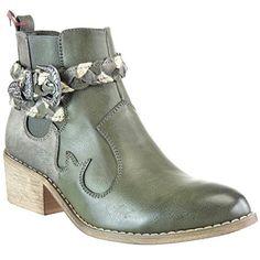 Angkorly - Chaussure Mode Bottine chelsea boots cavalier santiags - cowboy femme lanière tréssé boucle Talon bloc 5 CM - Vert - F1226 T 40 - Chaussures angkorly (*Partner-Link)