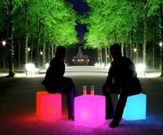 Can we make this? - Set the mood with these trendy outdoor light up cubes. The perfect accessory for a modern backyard or patio, these rechargeable LED cubes are waterproof, hold up to three hundred pounds, and even come with a wireless remote control.