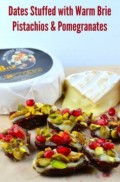 Dates Stuffed with Warm Brie Pistachios and Pomegranates - Do you want to surprise your guests on your next Super Bowl party with a different vegetarian bite size appetizer? These Cheese stuffed dates are out of this world, warm, creamy, crunchy and tangy at the same time. Simply irresistible!