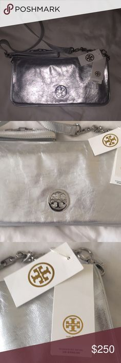 Brand new!!  Tory burch silver bag. Silver Tory Burch shoulder strap bag. Brand new with tag.  Tissue is still inside and some of the hardware is still covered.  Comes with dust bag. Tory Burch Bags Shoulder Bags