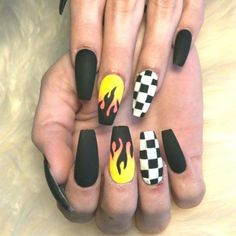 Coffin Nails Matte The black matte coffin nails trend is growing and every woman dreams to be stylish and trendy. So, these matte nail designs are for those who are not afraid to experiment. As you know, women's nails have always been a Yellow Nails Design, Black Nail Designs, Acrylic Nail Designs, Nail Art Designs, Unique Nail Designs, Black Coffin Nails, Matte Black Nails, Matt Nails, Fire Nails