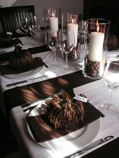 Crisp white and chocolate brown table