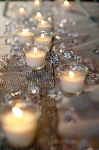 faux diamond runner with votive candles