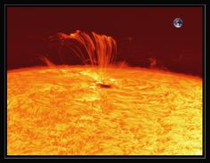 fom APOD:  One of the most active sunspot groups in years is currently crossing the Sun. AR 1302 first came around the Sun's edge last week and is so large it can be seen without a telescope. Coronal Mass Ejections from AR 1302 have already caused strong geomagnetic storms including notable aurora activity around both of Earth's poles. Pictured above, plasma was left magnetically hanging above the Sun's surface after AR 1302 emitted an X-class solar flare last Thursday. Earth is illustrated i...