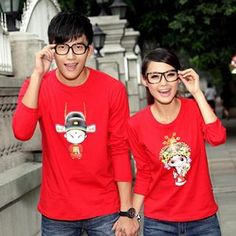 Long-Sleeve Printed Couple T-Shirt from #YesStyle
