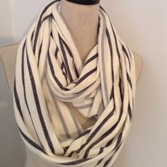 Nautical Stripe Infinity Scarf Comfy and very versatile scarf. Heavy gauge cotton/Lycra blend. NEW W/O TAG. You'll want to sleep in this it feels so good! Great for traveling in style and comfort. Blue on ivory stripes. Accessories Scarves & Wraps