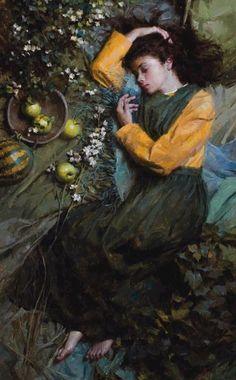 Artist: Morgan Weistling Emerald Dreams Oil on canvas x cm x Painting Inspiration, Art Inspo, Morgan Weistling, Foto Fantasy, Illustration Art, Illustrations, Classic Paintings, Classical Art, Renaissance Art