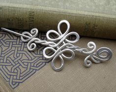 Celtic Sterling Silver Shawl Pin , Scarf Pin , Hair Pin or Brooch -  Double Swirls and Curls. $58.00, via Etsy.
