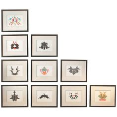 Set of 10 Rorschach Inkblots | From a unique collection of antique and modern prints at http://www.1stdibs.com/furniture/wall-decorations/prints/