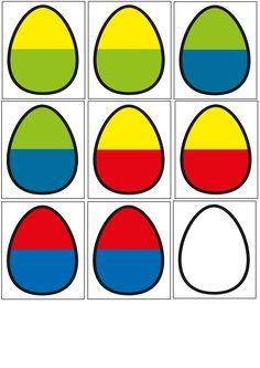 leuk om als zelfstandige activiteit aan te bieden in het thema pasen. de kleuters moeten de paaseitjes vormen door twee helften van eitjes aan elkaar te maken