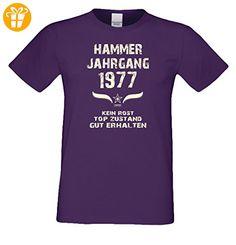 Geschenk-Set zum 40. Geburtstag : Hammer Jahrgang 1977 : Fun T-Shirt & Urkunde als Geburtstagsgeschenk Geschenkidee Geschenk für Männer : Farbe: lila Gr: M (*Partner-Link)