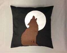 HOWLING WOLF  Black Cotton Cushion Cover Pillow by BeUniqueBaby