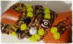 Yellow–Brown jewelry set «Tina» by Charisma Art Store, wide memory - bracelet and earrings, agate, tiger-eye stones, DZI beads and crystals. by CharismaArtStore on Etsy