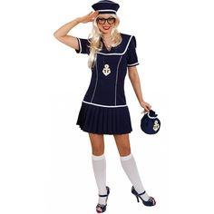 Matrozen kostuum voor dames 2 delig. Dit donkerblauwe matrozen kostuum voor dames bestaat uit een jurkje met plooirokje en een hoedje.
