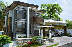 Alvarez Residence on Behance Modern Bungalow House Design, Modern Exterior House Designs, Modern Villa Design, Dream House Exterior, Modern Architecture House, Exterior Design, House Plans 2 Storey, 2 Storey House Design, House Layout Plans