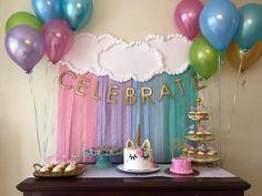 New Party Decorations Diy Birthday Streamers Ideas Birthday Table, Unicorn Birthday Parties, Diy Birthday, First Birthday Parties, Birthday Party Themes, First Birthdays, Birthday Ideas, Birthday Board, Birthday Celebration