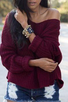 Casual Style Boat Neck Long Sleeve Loose-Fitting Women's Wine Red Sweater