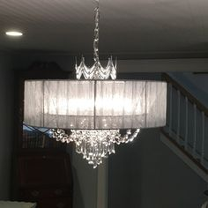 A study in elegance, this shaded, draped crystal six-light chandelier features a regal crown-like design in silver. Style # at Lamps Plus. Crystal Chandelier Lighting, Globe Chandelier, Modern Chandelier, Dining Room Ceiling Lights, Dining Room Light Fixtures, Chandelier Bedroom, Bedroom Lighting, Interior Lighting, Handmade Home Decor