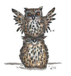 Owls, illustration, drawing / Gufi, illustrazione, disegno - Art by Eva Poppink