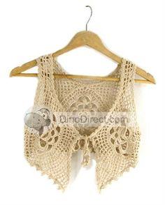 Women Cut Out Cotton Crochet Vest -  DinoDirect.com